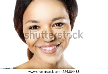 Portrait of a beautiful young African woman with sensual look - stock photo