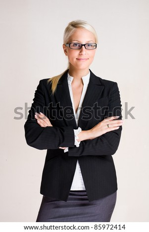 Portrait of a beautiful young blond business woman. - stock photo