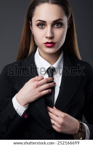 portrait beautiful young business woman standing stock