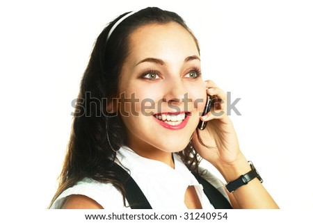portrait of a beautiful young businesswoman talking on the cellphone