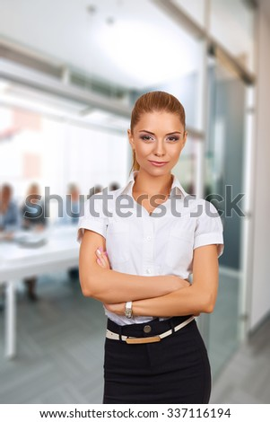 Portrait of a beautiful young businesswoman. Woman young