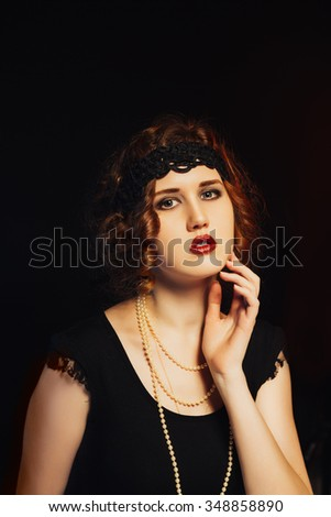 portrait of a beautiful young girl and  vintage style - stock photo