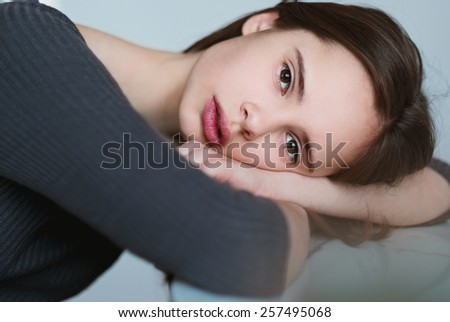 portrait of a beautiful young girl close-up - stock photo