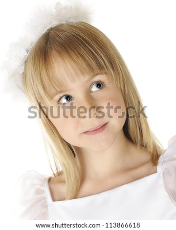 Portrait of a beautiful young girl dressed on in white.  On a white background.