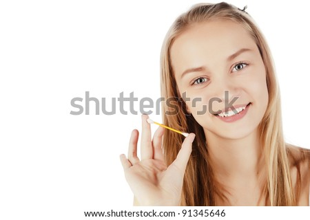 portrait of a beautiful young girl, skin care, facial care, cotton swabs, a towel on his head, isolated on white - stock photo