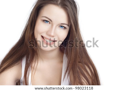 Portrait of a beautiful young girl with dark hair
