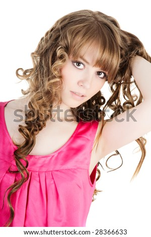 Portrait of a beautiful young lady over white background