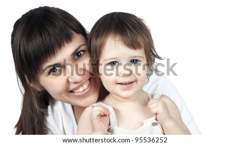 portrait of a beautiful young mother and baby - stock photo