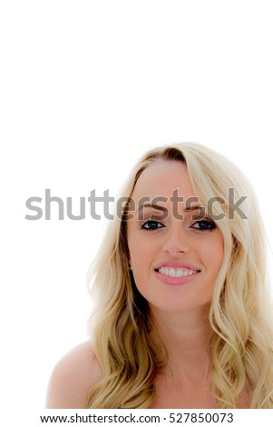 Portrait of a Beautiful Young Sexy Blond Hair Caucasian Woman Happy and Smiling Against a White Background With Copy Space