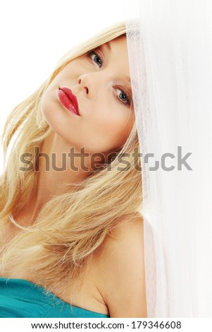 Portrait of a beautiful young sexy woman,isolated on white background  - stock photo