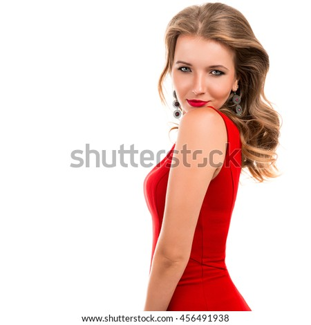 Portrait of a beautiful young smiling woman on a white background