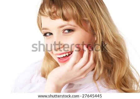 Portrait of a beautiful young teenager. Close up face - stock photo