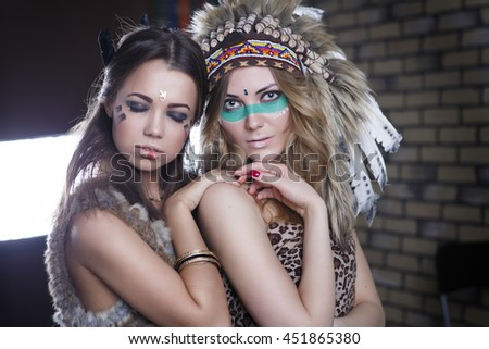 Portrait of a beautiful young two girls in Indian outfit