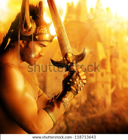 Portrait of a beautiful young warrior holding sword in golden light