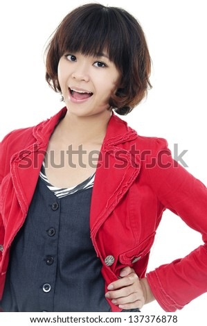 Portrait of a beautiful young woman a red jacket
