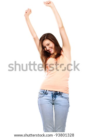 Portrait Of a Beautiful young woman celebrating success isolated on white - stock photo