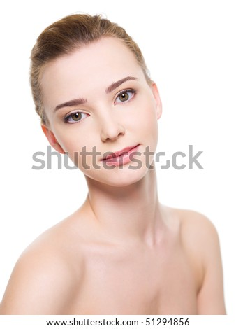 Portrait of a Beautiful young woman face with fresh clean skin - isolated on white
