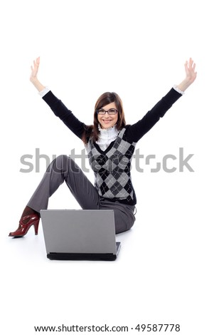 Portrait of a beautiful young woman in a business suit  with a laptop. Isolated over white background