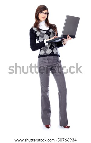 Portrait of a beautiful young woman in a business suit  with a laptop. Isolated over white background - stock photo