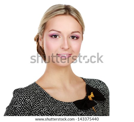 Portrait of a beautiful young woman isolated on white background - stock photo
