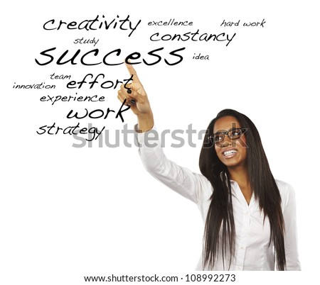 portrait of a beautiful young woman pointing at success words