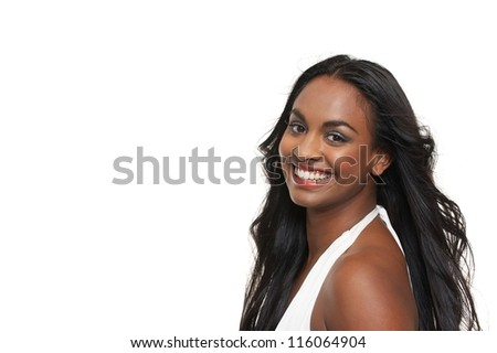 Portrait of a beautiful young woman smiling isolated on white background - stock photo