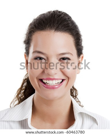 Portrait of a beautiful young woman with a great smile - stock photo