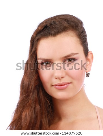 portrait of a beautiful young woman with brown long hair - stock photo
