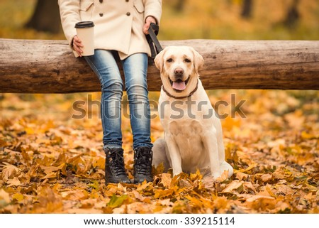 Portrait of a beautiful young woman with her dog while walking in the autumn park