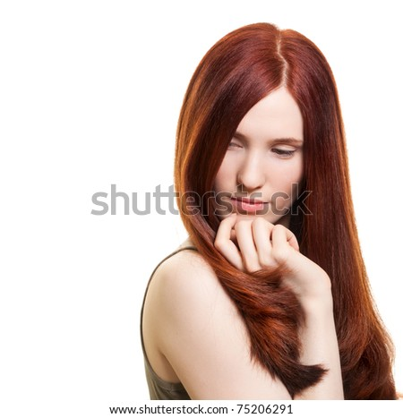 portrait of a beautiful young woman with wonderful hair - stock photo