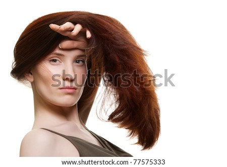portrait of a beautiful young woman with wonderful hair