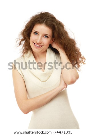 Portrait of a beautifull woman in a white dress on white - stock photo