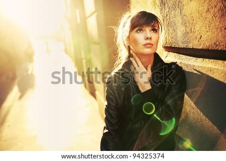 Portrait of a beauty brunette - stock photo
