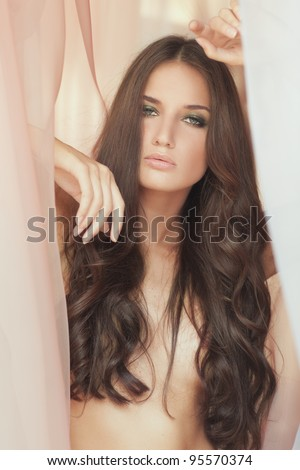 portrait of a beauty girl with long hair - stock photo