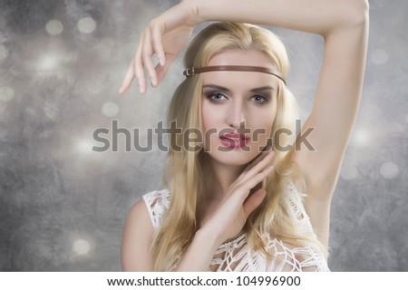 Portrait of a beauty hippie woman - stock photo