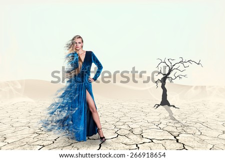 Portrait of a beauty woman in blue dress on the desert - stock photo
