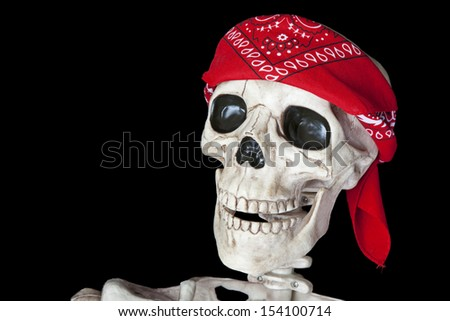 Portrait of a biker skeleton with a red bandana around his head.  Shot on black background. - stock photo