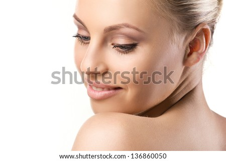 portrait of a blond  beautiful yong woman on white background - stock photo