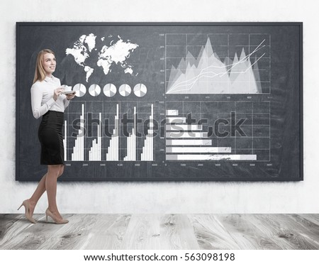 Portrait of a blond girl holding her coffee cup and standing near a blackboard with four graphs drawn on it. Elements of this image furnished by NASA