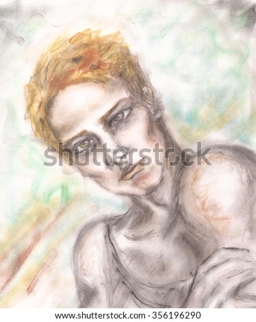 Portrait of a blond man with colorful background. Hand drawn illustration sketch. Fashion man model. Blonde hair. Handsome guy. Pastel colors.