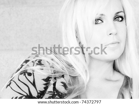Portrait of a blond woman. - stock photo