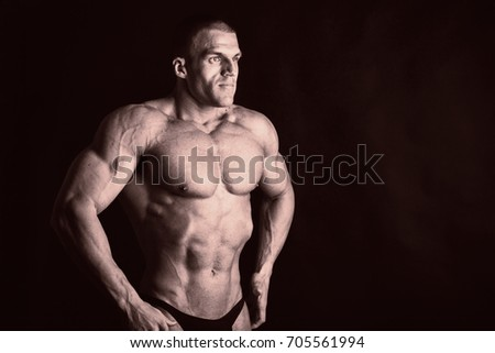 Portrait of a bodybuilder. Toned photo