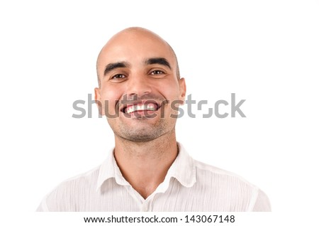 Portrait of a bold man smiling. Caucasian bald man laughing. Isolated on white background. - stock photo