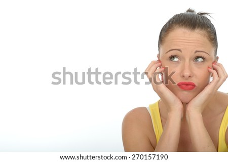 Portrait of a Bored Fed Up Young Woman Looking Unhappy Stressed and Depressed - stock photo