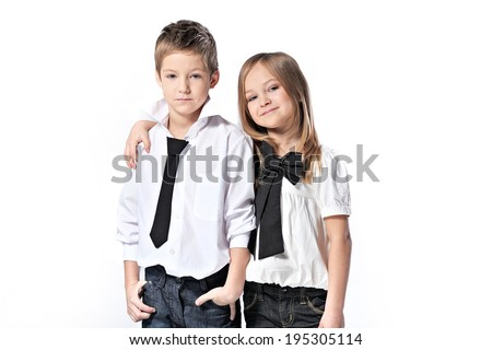 Portrait of a boy and girl studio
