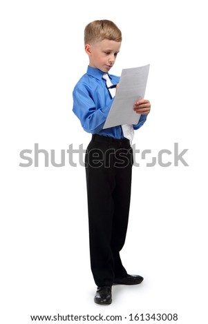 Portrait of a boy in a business suit isolated on white background
