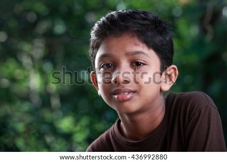 Portrait of a boy of Indian origin in outdoor