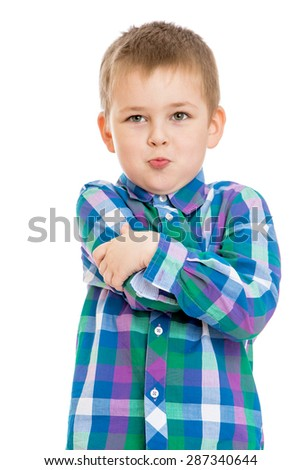 Portrait of a boy preschooler big plan-isolated on white background - stock photo
