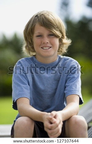 Portrait of a boy smiling - stock photo