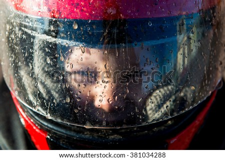 Portrait of a boy wearing a helmet close-up